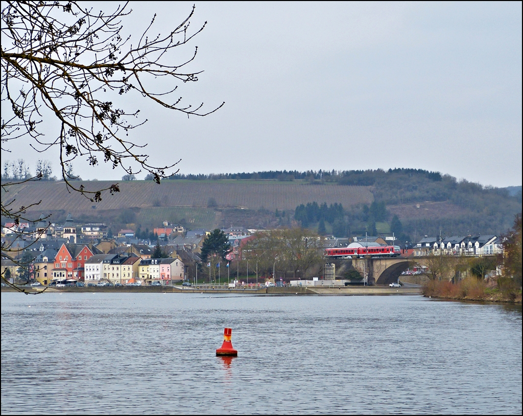 . A local train to Trier is running on the Sûre Bridge in Wasserbillig on April 8th, 2013.