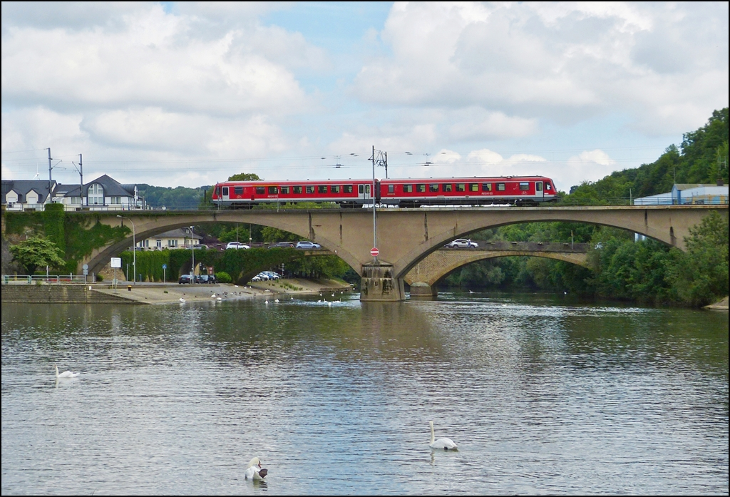. A local train to Trier is running over the Sûre bridge in Wasserbillig on June 14th, 2013.