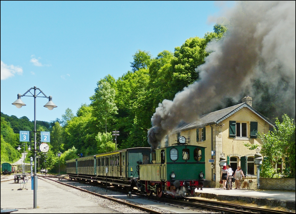 . A steam train of the heritage railway Train 1900 is waiting for passengers in Fond de Gras on June 16th, 2013.