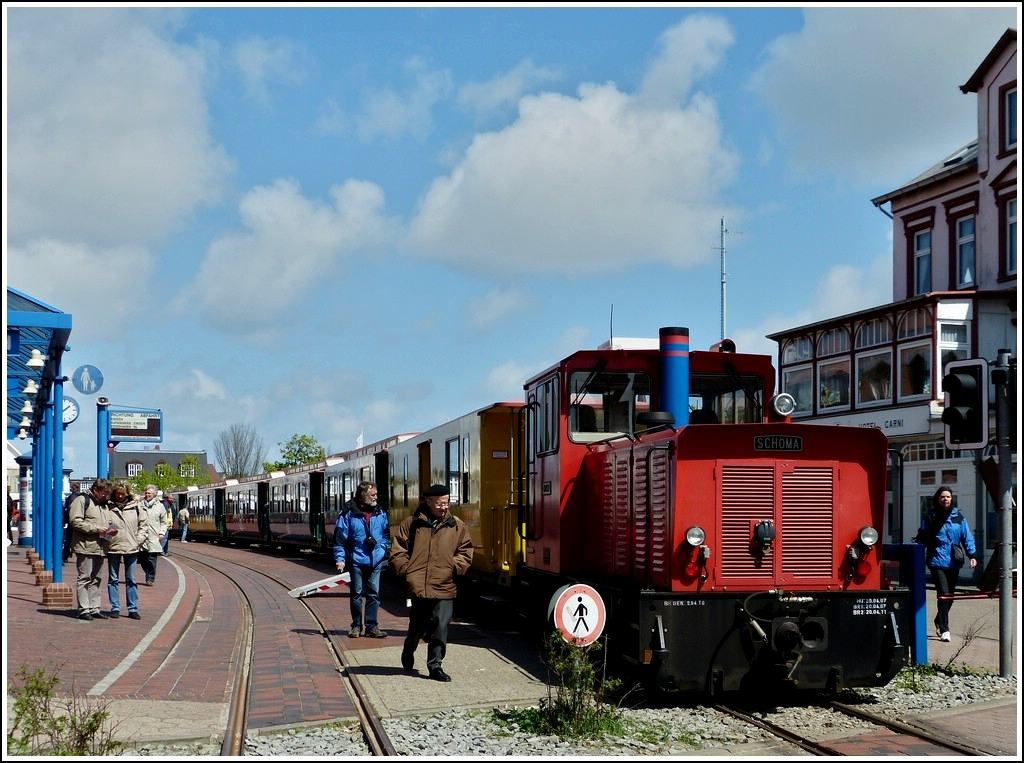 . A train headed by the locomotive  Aurich  of the Borkumer Kleinbahn pictured in Borkum on May 12th, 2012.