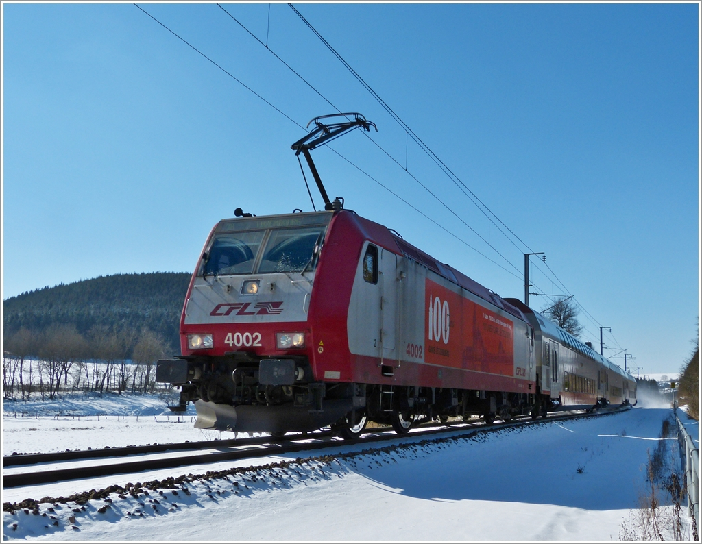 . The IR 3739 Troisvierges - Luxembourg City is running between Cinqfontaines and Maulusmühle on March 13th, 2013.