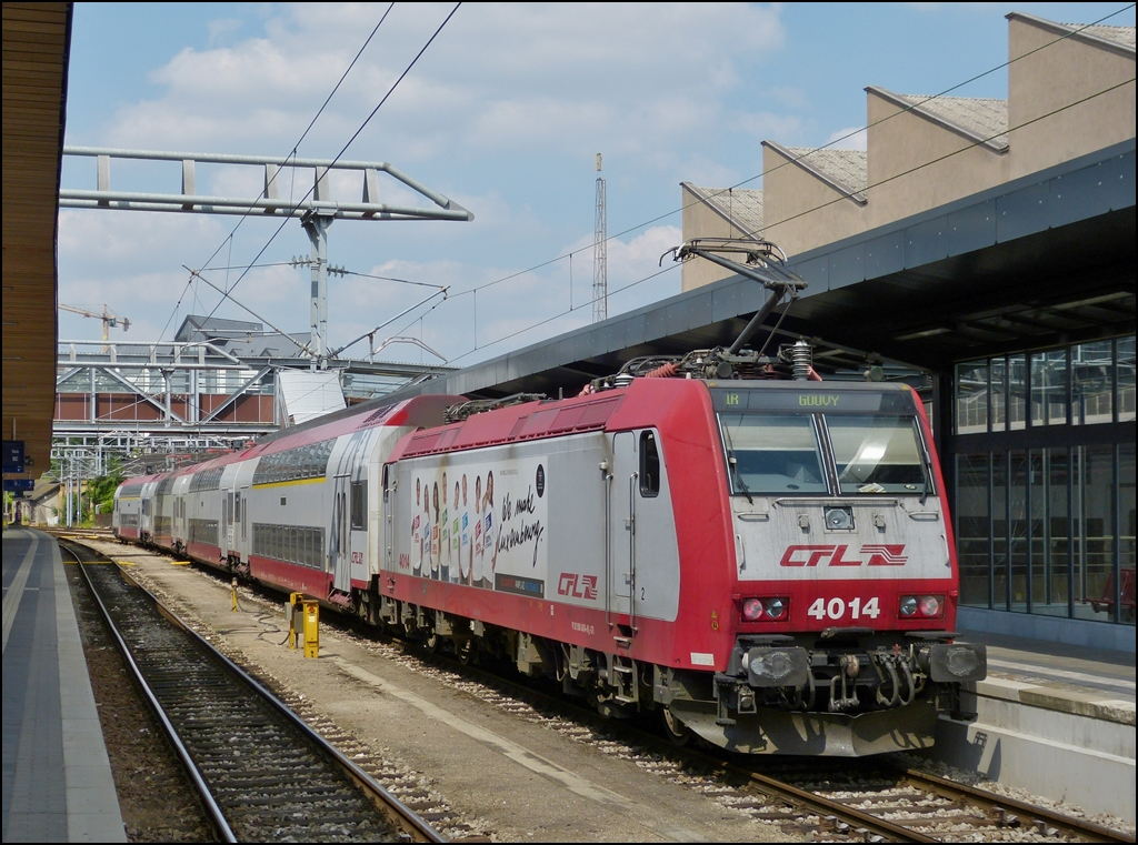. The IR 3816 Luxembourg - Gouvy is waiting for passengers in the station of Luxembourg City on July 16th, 2013.