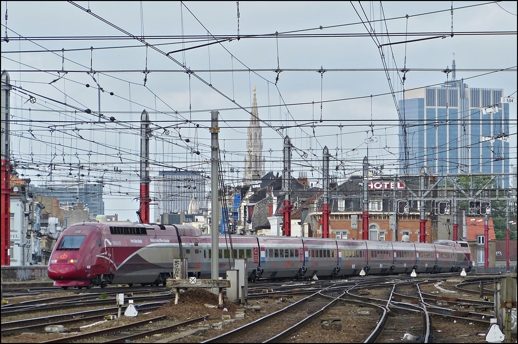 . The PBKA Thalys 4345 is leaving the station of Bruxelles Midi on May 10th, 2013.