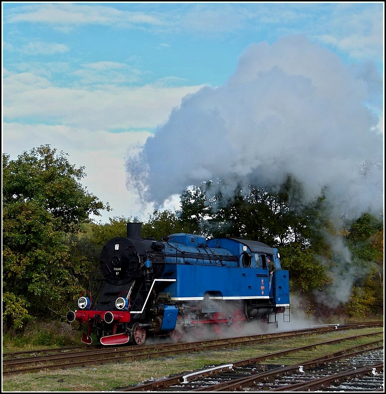 . The steam engine Tkt 48-87 pictured at Treignes on October 30th, 2010.