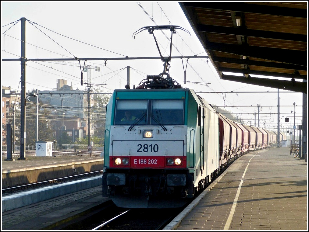 . The TRAXX HLE 2810 is hauling a goods train trough the station Gent Sint Pieters on November 12th, 2011.