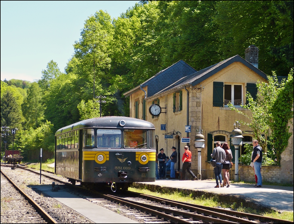 . The Uerdinger rail car 551.669 is waiting for passengers in front of the station in Fond de Gras on June 2nd, 2013.