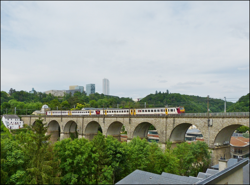 . Z 2000 double unit is running on the Clausen viaduct in Luxembourg City on June 14th, 2013.