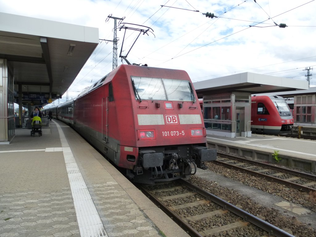 101 073-5 is standing in Nuremberg main station on June 23th 2013.
