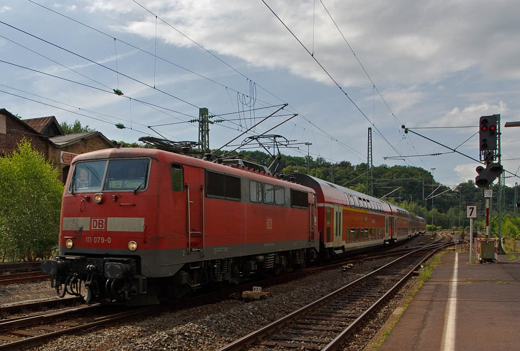111 079-0 with RE 9 (Rhein-Sieg-Express) Aachen - Cologne - Siegen on 03.08.2012 at the entrance to the station Betzdorf (Sieg).