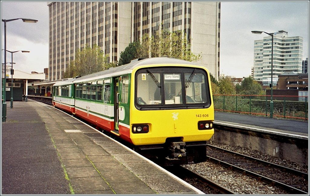 143 606 to Barry Island is leaving Cardiff Queen Street Station. 