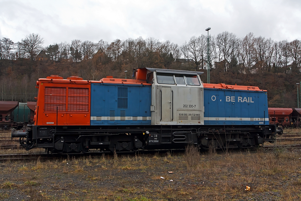 202 330-7 (110 330-8 ex DR), a V 100.1 parked on 04.12.2011 in Betzdorf/Sieg.
