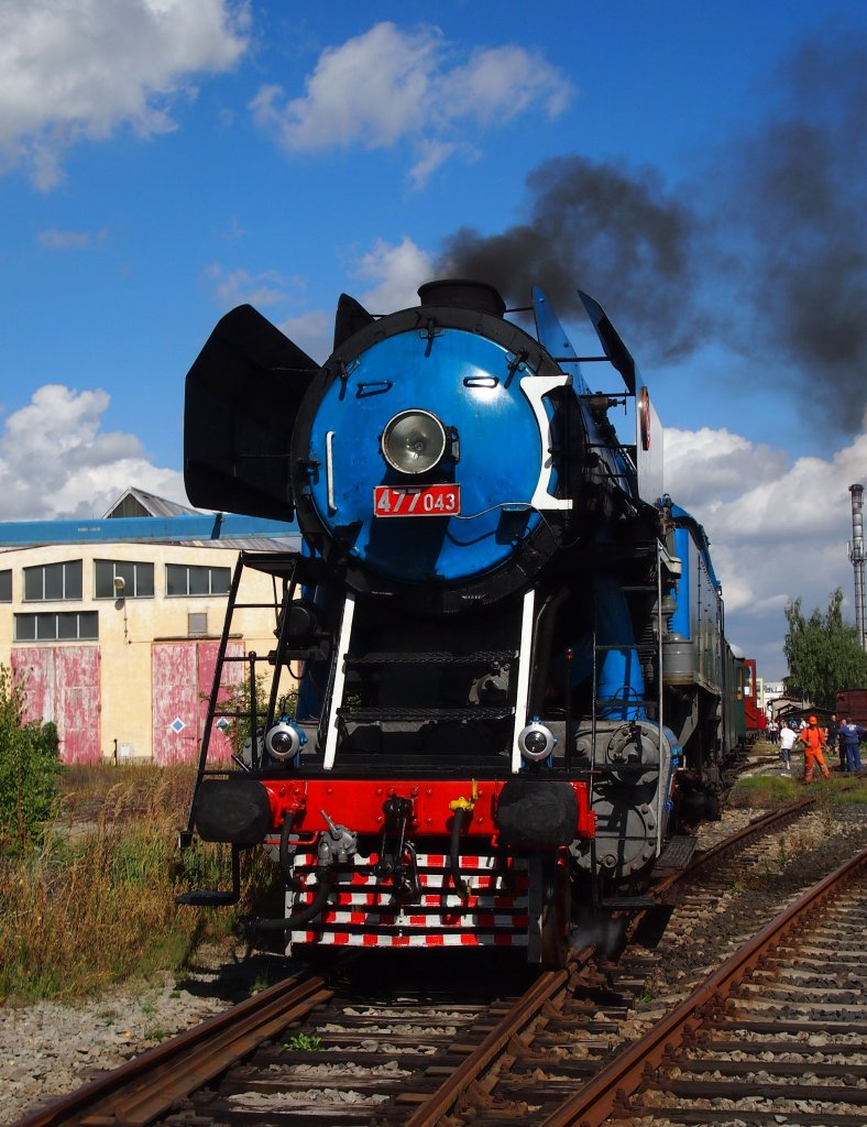 477 043 on 08.09.2012 in depository of Technical Museum Chomutov. Special train from Lu¸ná u Rakovníka to Chomutov.