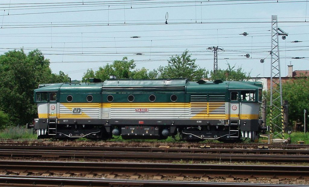 754 023 on the 30th of June, 2012 on the Railway station Hranice.