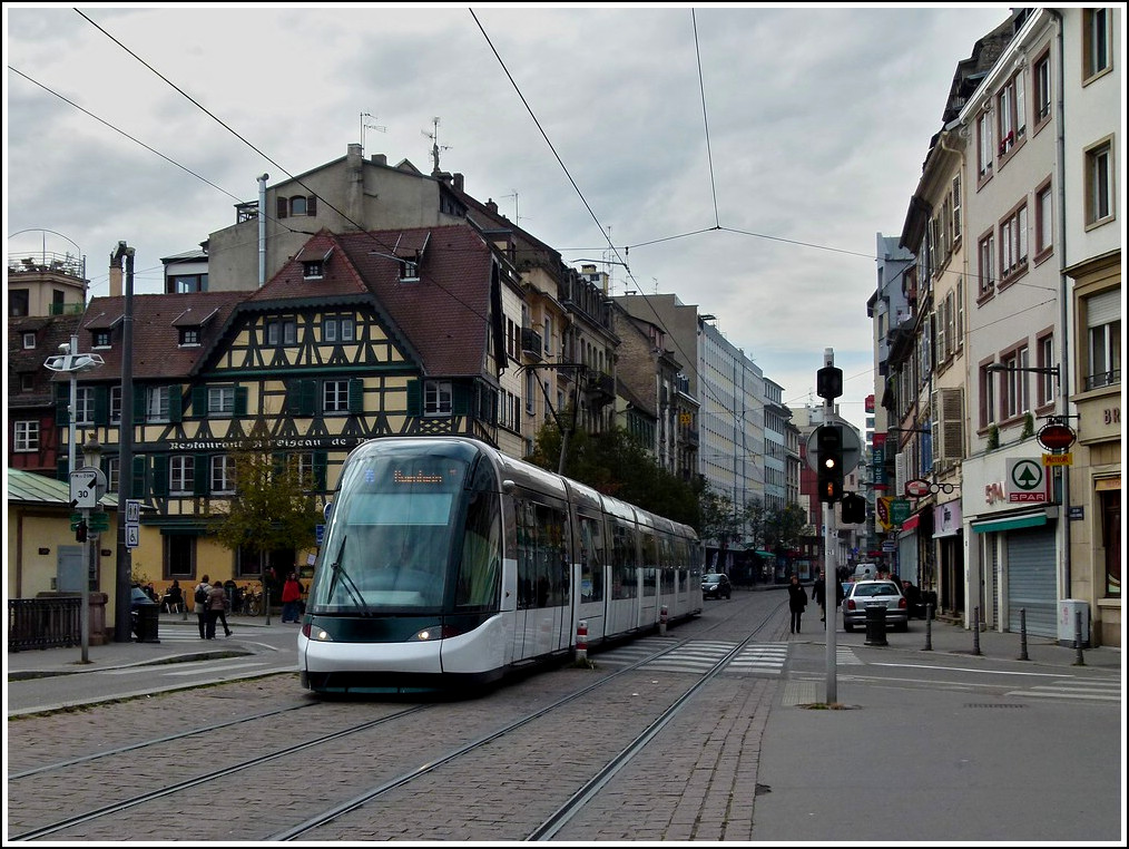 A Citadis tram is running through the Rue du Faubourg National in Strasbourg on October 28th, 2011.