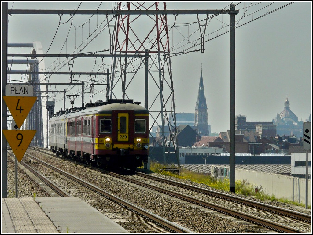 A local train is arriving at the station Antwerpen-Luchtbal on June 23rd, 2010.