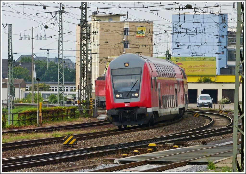 A local train is arriving in Koblenz main station on July 28th, 2012.