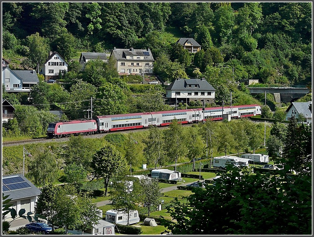 A local train to Luxembourg City is running through Clervaux on June 23rd, 2009.