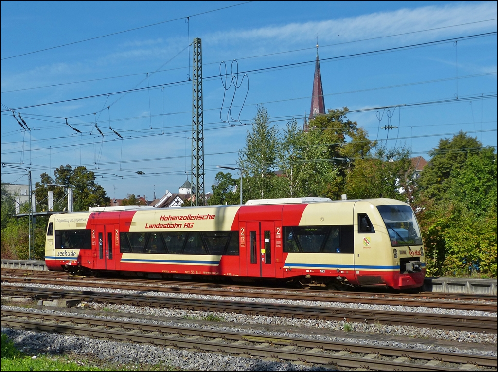 A local train to Stockach is leaving the station of Radolfzell on September 17th, 2012.