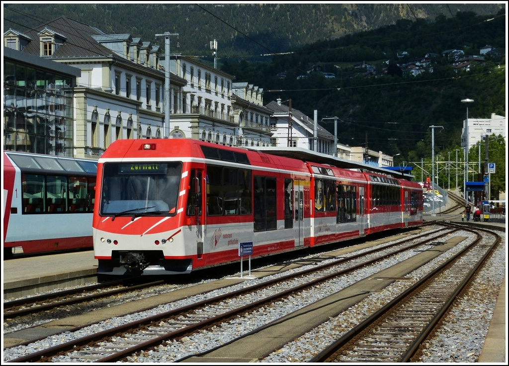 A local train to Zermatt pictured in Brig on May 28th, 2012.