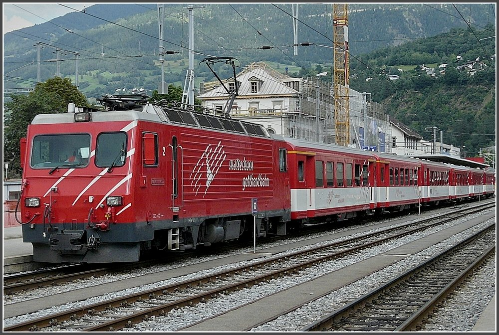 A MGB local train is leaving the station of Brig on July 31st, 2008.