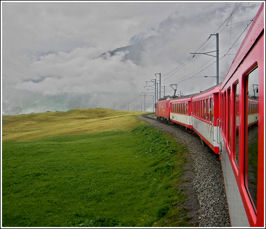 A MGB local train is running between Nätschen and Andermatt on August 7th, 2007.