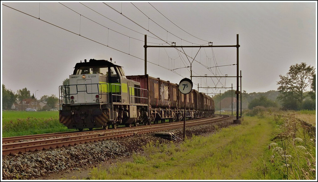 A MRCE MaK G 1206 diesel engine is hauling a goods train through Zevenbergen in the eveving of September 2nd, 2011.