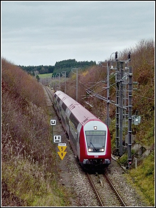 A push-pull train from Gouvy to Luxembourg City pictured in Hautbellain on November 14th, 2010.