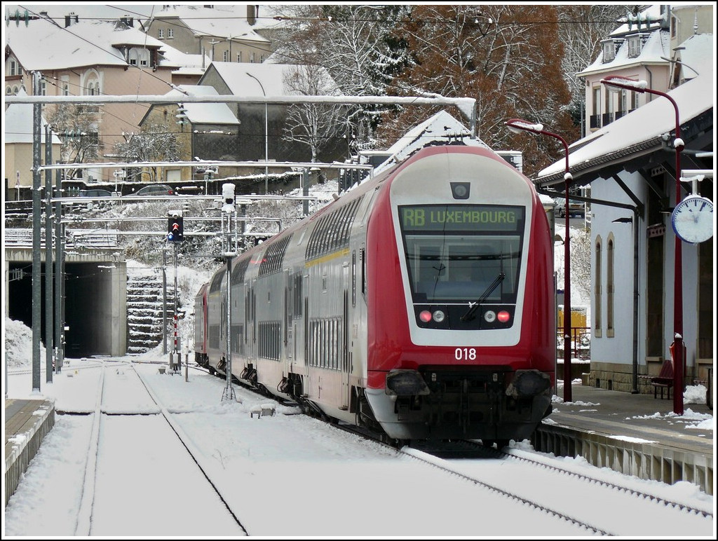 A push-pull train is waiting for passengers in Wiltz on November 22nd, 2008.