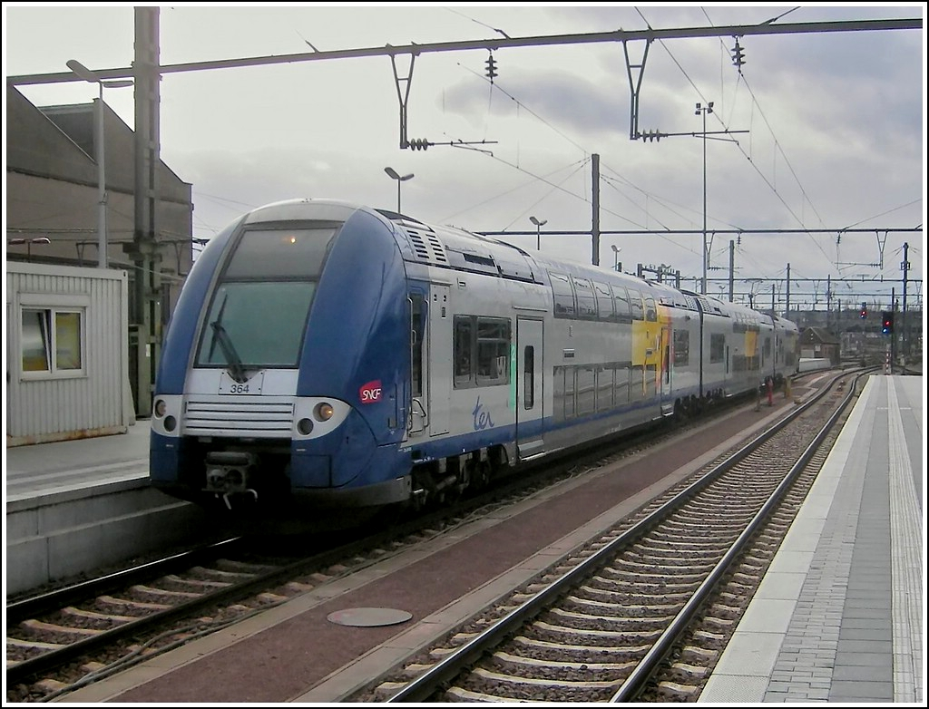 A SNCF local train is entering into the station of Luxembourg City on January 20th, 2007.