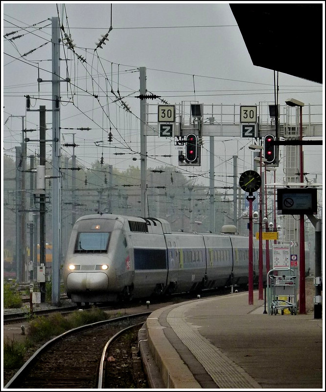 A TGV POS unit is entering into the main station of Strasbourg on October 31st, 2011.