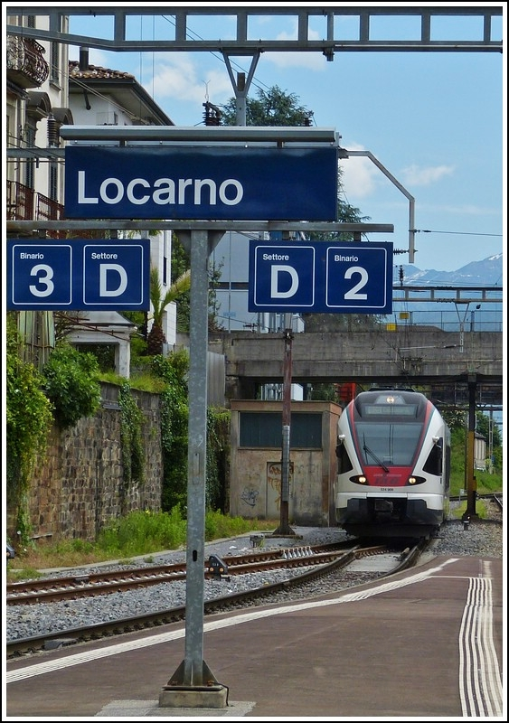 A TILO Flirt is entering into the station of Locarno on May 23rd, 2012.