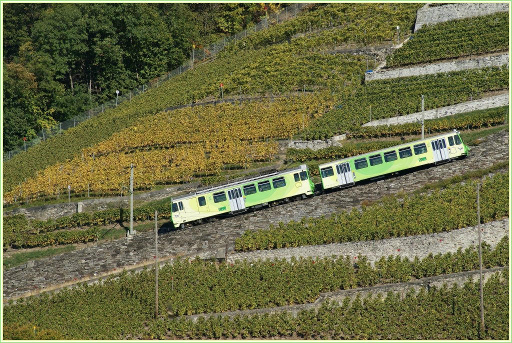 An A-L local train in the new colour n the way to Leysin. 