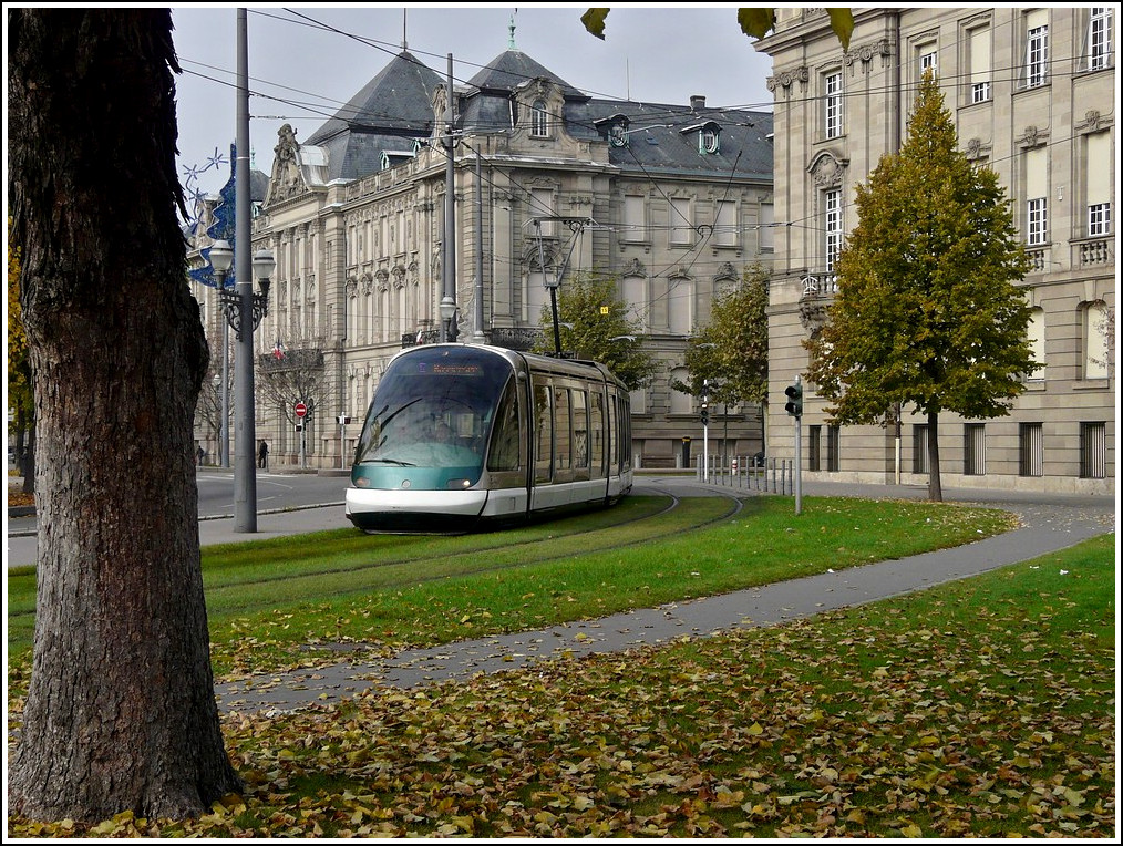 An Eurotram is arriving at the Place de la République in Strasbourg on October 30th, 2011.