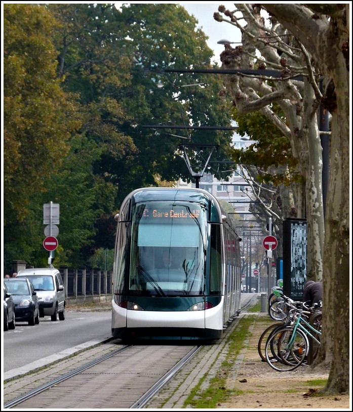 An Eurotram is running on the Boulevard de la Victoire in Strasbourg on October 29th, 2011.