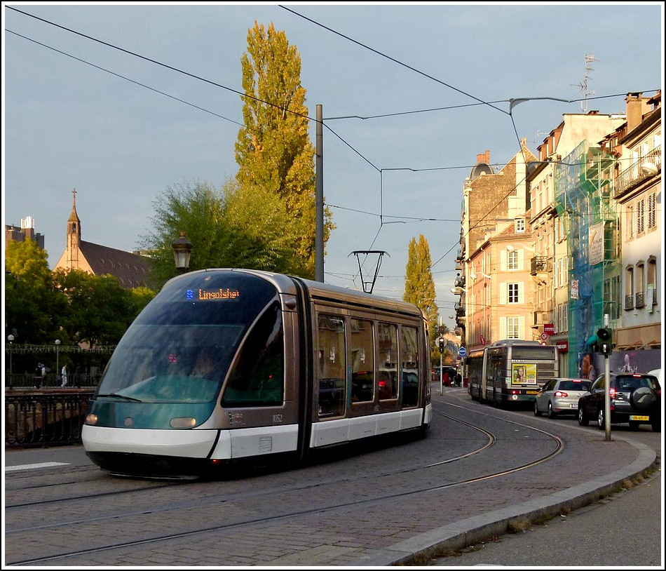 An Eurotram is turning fron the Quai Desaix into the Rue du Faubourg National in Strasbourg on October 28th, 2011.