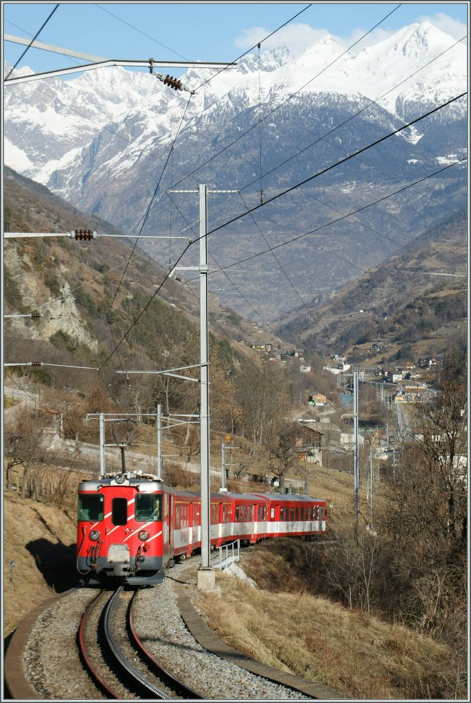 An MGB Local Train on the way to Visp by Stalden.