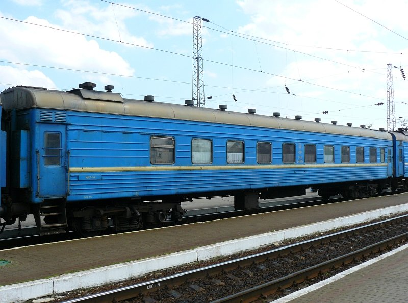 An UZ hardsleeper with 54 very hard beds. The car is numbered 048 26475. Lviv, Ukraine 25-05-2010.
