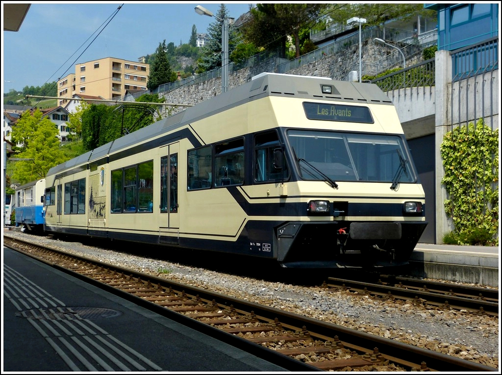 CEV GTW Be 2/6 7004 pictured in Montreux on May 25th, 2012.