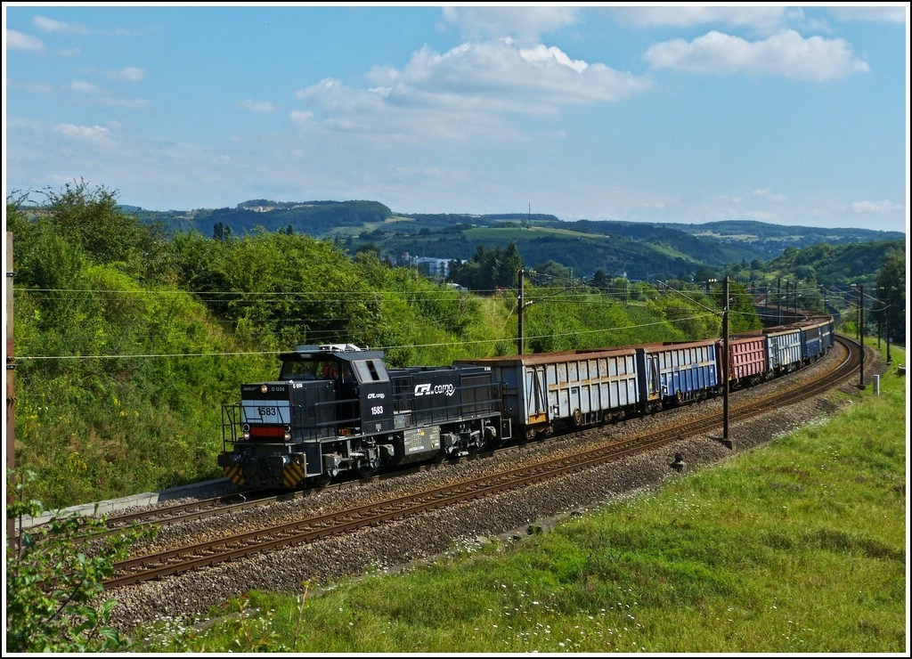 CFL Cargo 1583 is heading a freight train in Mertert on August 10th, 2012.
