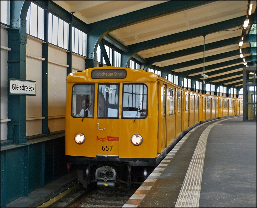 Class A3E metro train N° 657 is entering into the station Gleisdreieck in Berlin on December 29th, 2012.
