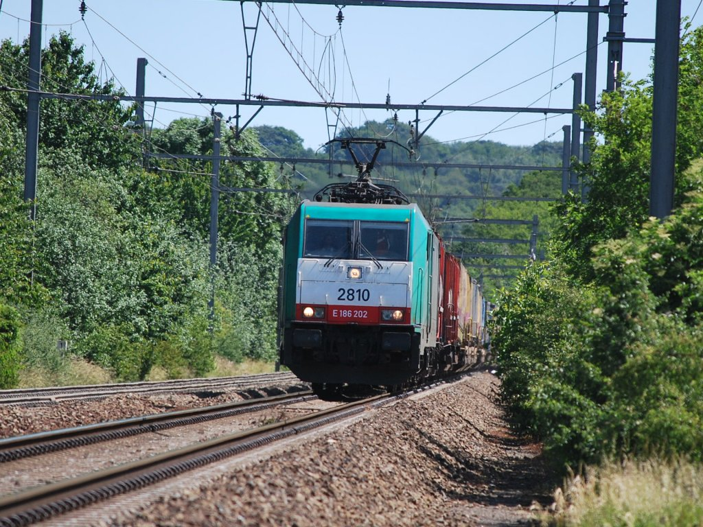 Container train coming from Germany past Warsage on line 24 in June 2011.