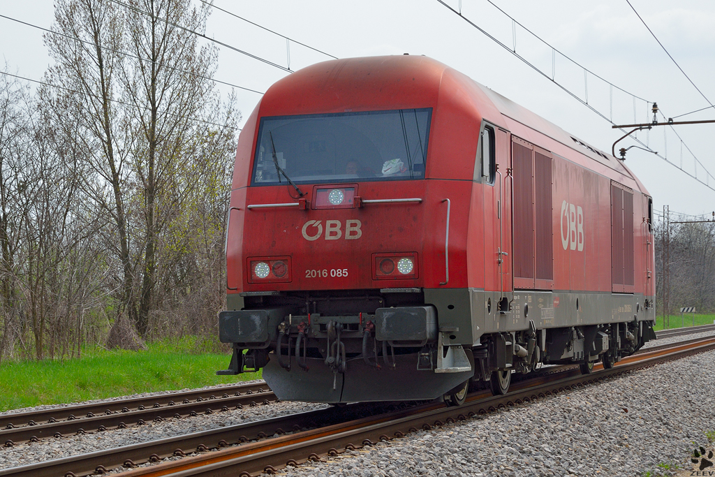 Diesel loc 2016 085 is running through Maribor-Tabor on the way to the north. /20.4.2013