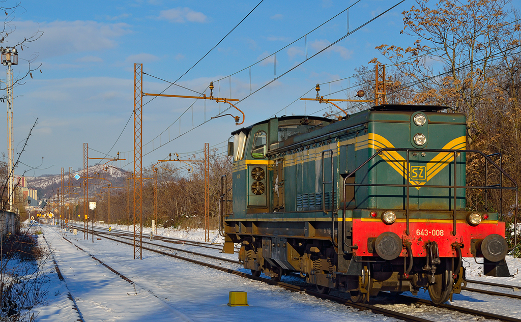 Diesel loc 643-008 is running through Maribor-Tabor on the way to Maribor station. /11.12.2012