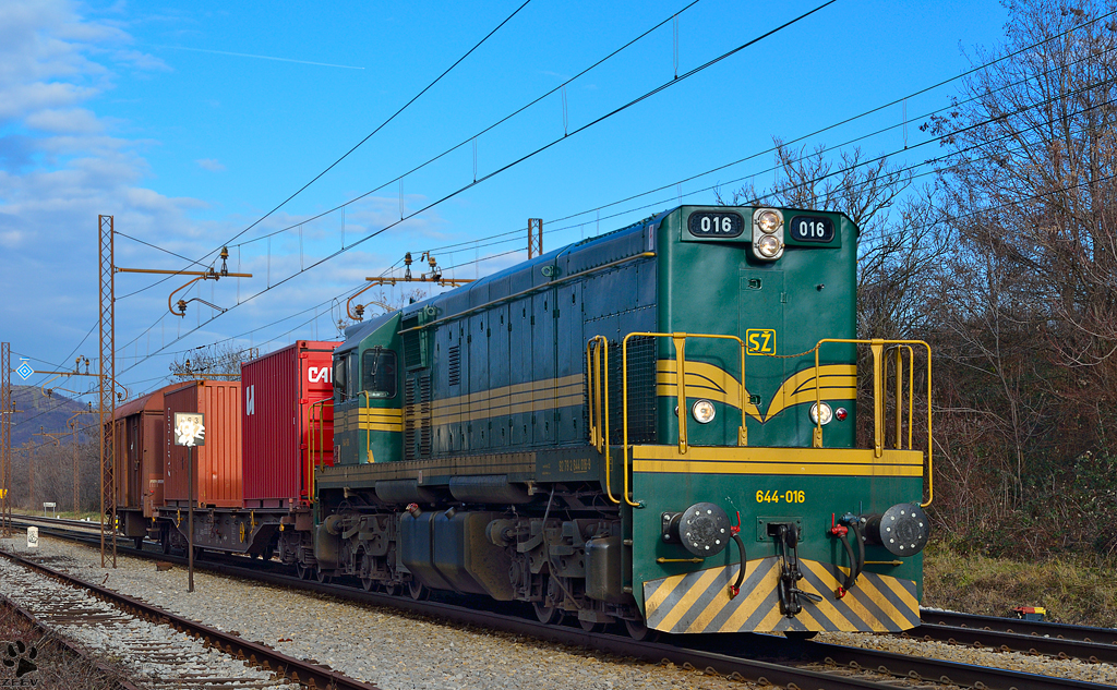 Diesel loc 644-016 pull two freight wagons trough Maribor-Tabor on the way to Tezno yard. /3.1.2013