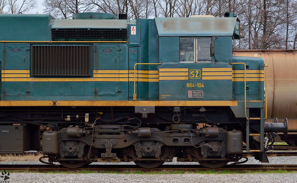Diesel locomotive 664-104 cab view. Pragersko Station. /28.12.2012