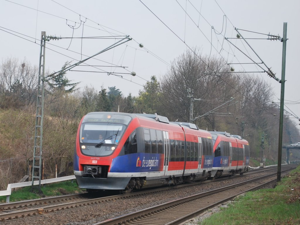 DMU class 643  Talent  arriving at Kohlscheid on 29 March 2012 (RB 20 to Stolberg).