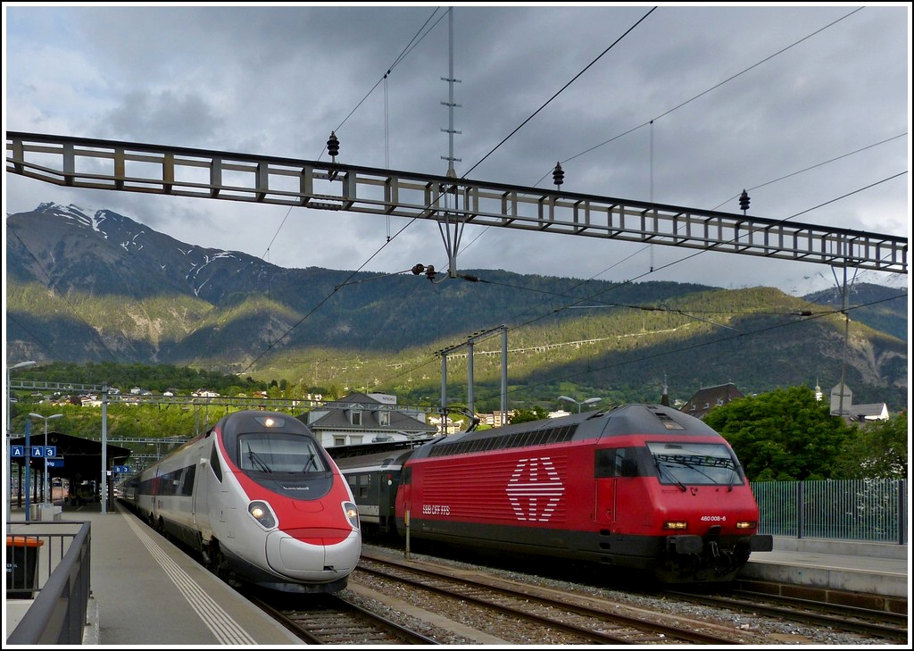 ETR 610 and Re 460 photographed together in Brig on May 22nd, 2012.