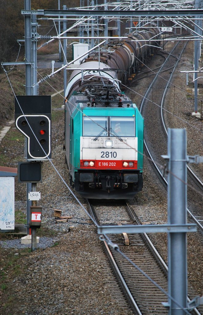 Freight train coming from Germany and entering the Belgian railway network at Nouvelaer (Gemmenich). March 2009.