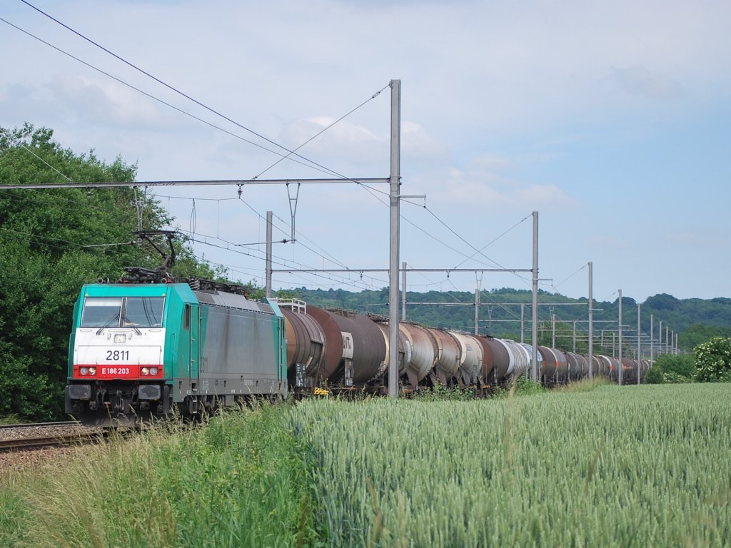 Freight train from Germany to Belgium in Warsage, June 2010.