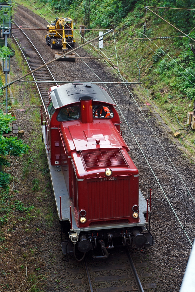 From the top - The V100 2299 ex DB 212 299-2 of the VEB (Vulkan-Eifel-Bahn) is waiting on 08.07.2012 in Siegen of new a order.